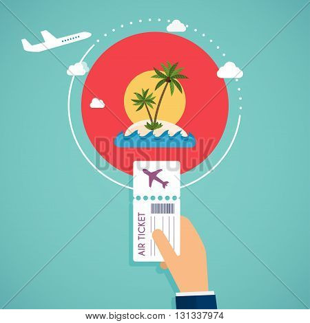 Buy air tickets. Traveling on airplane planning a summer vacation tourism and journey objects and passenger luggage.