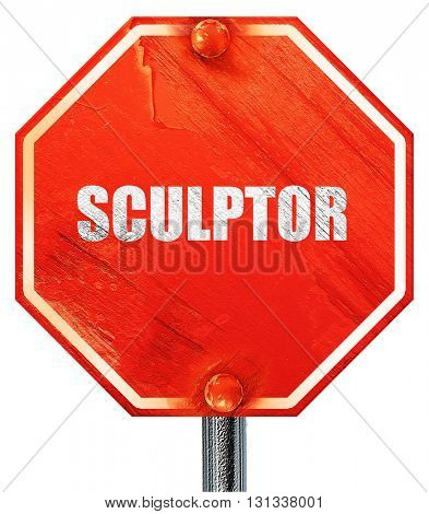 sculptor, 3D rendering, a red stop sign