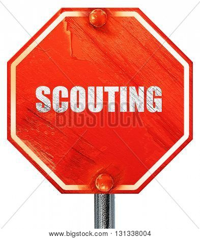 scouting, 3D rendering, a red stop sign