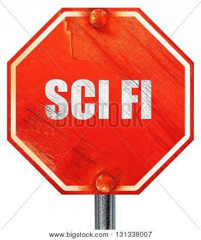 sci fi, 3D rendering, a red stop sign