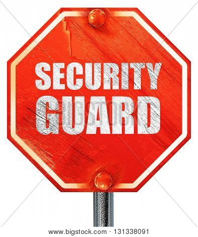 security guard, 3D rendering, a red stop sign