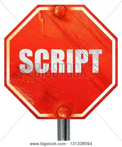 script, 3D rendering, a red stop sign