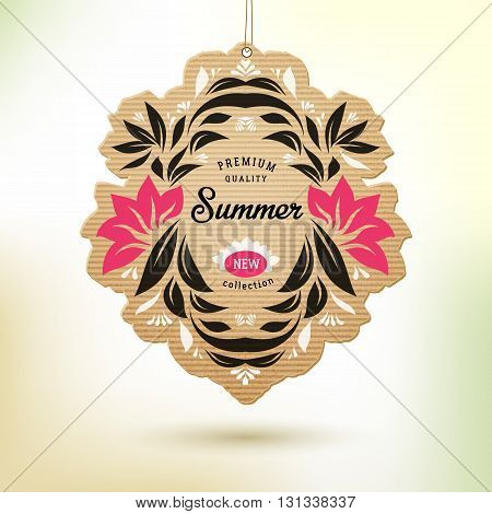 New summer collection tag with floral design elements. Paper label vector illustration.