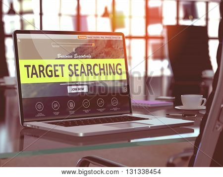 Target Searching Concept - Closeup on Laptop Screen in Modern Office Workplace. Toned Image with Selective Focus. 3d Rendering.