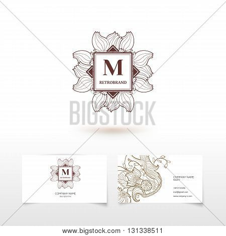 Vector monogram M graphic design elements, logo design in trendy linear and minimal retro style - business card templates for beauty and spa studios, florist and wedding services