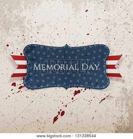 Memorial Day greeting Label and Ribbon. National American Holiday Background Template. Vector Illustration.