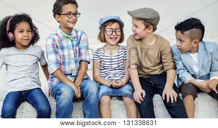 Hipster Kids Friends Playing Togetherness Fun Concept