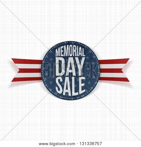 Memorial Day Sale greeting Sign and Ribbon. National American Holiday Background Template. Vector Illustration.