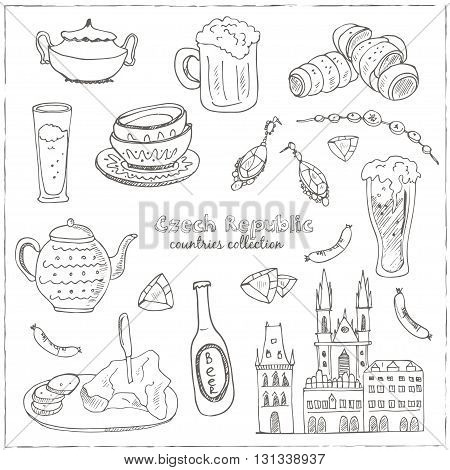 Hand drawn doodle Czech Republic travel set.  Sketchy Icons set. Travel Collection. Isolated vector illustration.