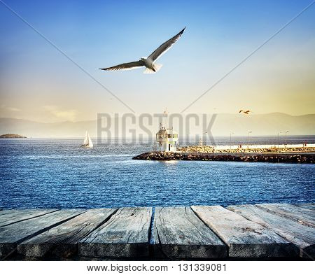 Pier stretching into sea from yacht under sky with seagulls
