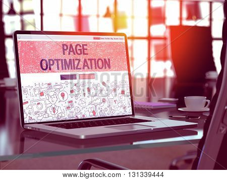Page Optimization Concept Closeup on Landing Page of Laptop Screen in Modern Office Workplace. Toned Image with Selective Focus. 3D Render.