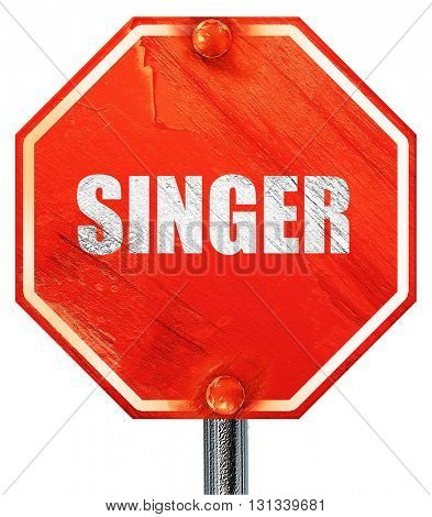 singer, 3D rendering, a red stop sign