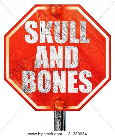 skull and bones, 3D rendering, a red stop sign