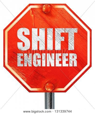 shift engineer, 3D rendering, a red stop sign