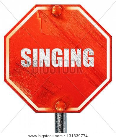 singing, 3D rendering, a red stop sign