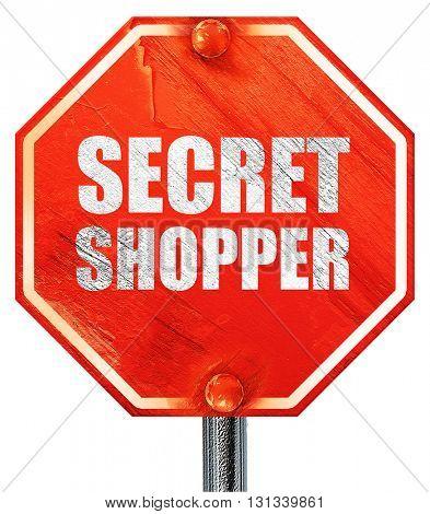 secret shopper, 3D rendering, a red stop sign