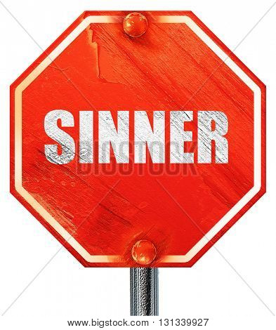 sinner, 3D rendering, a red stop sign