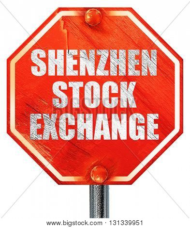 shenzhen stock exchange, 3D rendering, a red stop sign