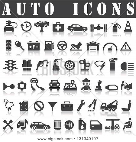 Auto Icons on a white background with a shadow