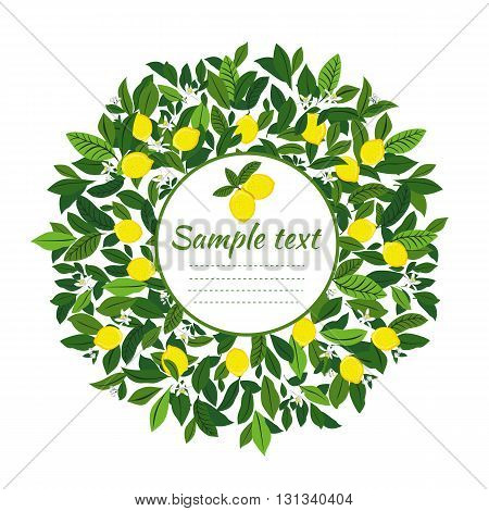 Wreath of lemons with space for text. Yellow summer fruits. Lemon Wreath. Picture for scrapbooking. Painting fruit art for kitchen, food wall art.