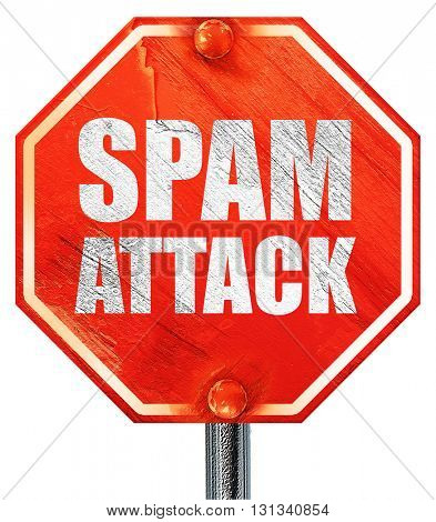 spam attack, 3D rendering, a red stop sign