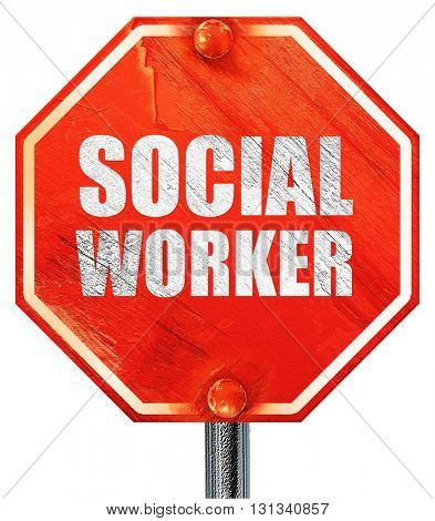 social worker, 3D rendering, a red stop sign