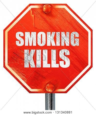 smoking kills, 3D rendering, a red stop sign