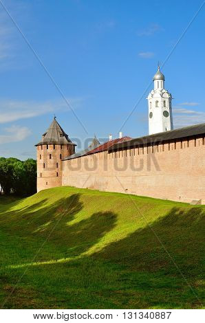 The Metropolitan Tower and Clock Tower of Novgorod Kremlin Veliky Novgorod Russia - spring architecture sunset landscape
