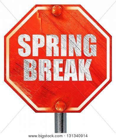 spring break, 3D rendering, a red stop sign