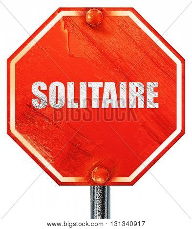 Solitaire, 3D rendering, a red stop sign