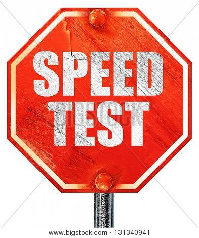 speed test, 3D rendering, a red stop sign