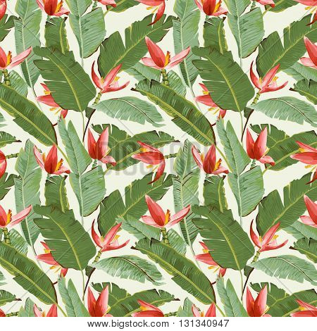 Seamless Pattern. Tropical Palm Leaves and Flowers Background. Banana Leaves. Banana Flowers. Vector Background.
