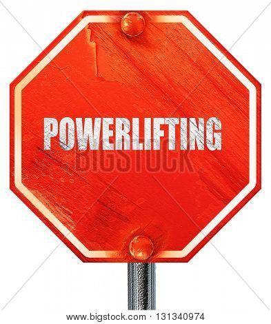 power lifting sign background, 3D rendering, a red stop sign