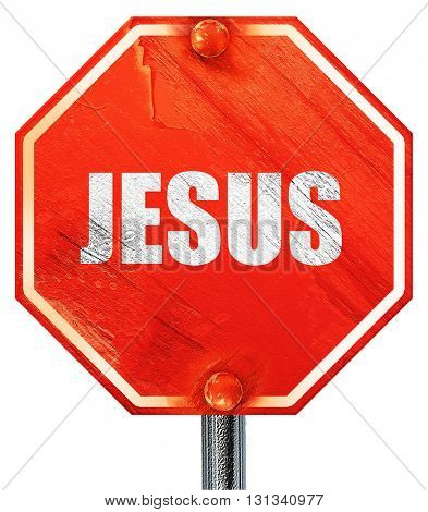 jesus, 3D rendering, a red stop sign