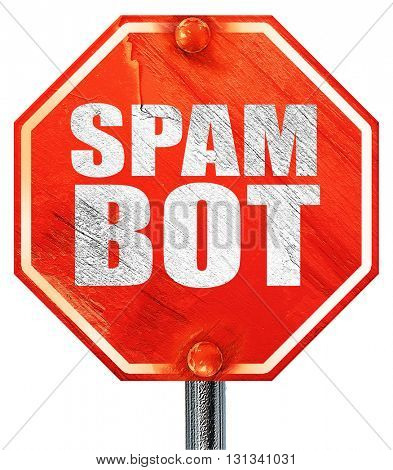 spam bot, 3D rendering, a red stop sign