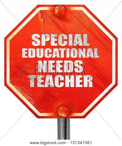 special educational needs teacher, 3D rendering, a red stop sign