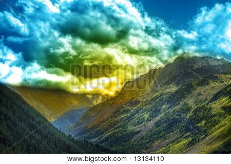 Fantastic landscape. Shot in a mountain.