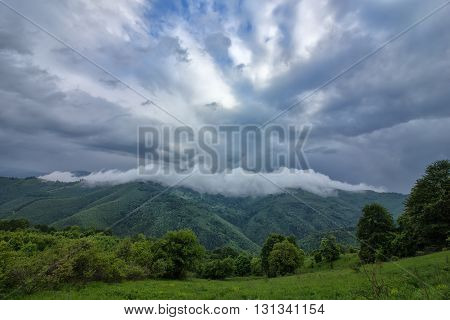beauty landscape with vapor over the mountain