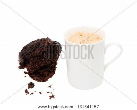 view, coffee cappuccino isolated on white background