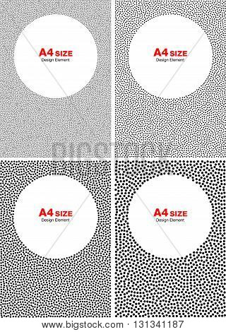 Set of Abstract Halftone White Dots on Gray Backgrounds, A4 size vector illustration.
