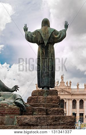 statue of St. Francis in Rome of Italy