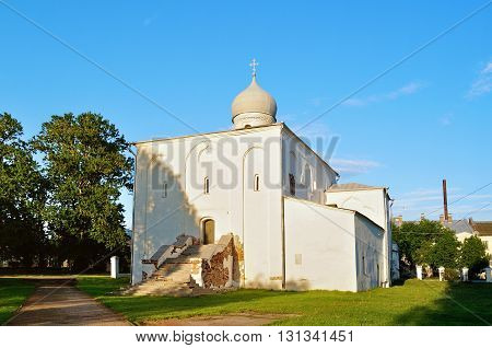 Assumption Church at the Yaroslav Courtyard at spring sunset in Veliky Novgorod Russia