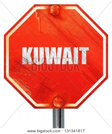 Greetings from kuwait, 3D rendering, a red stop sign