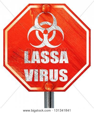 Lassa virus concept background, 3D rendering, a red stop sign