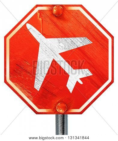 Low flying planes sign, 3D rendering, a red stop sign
