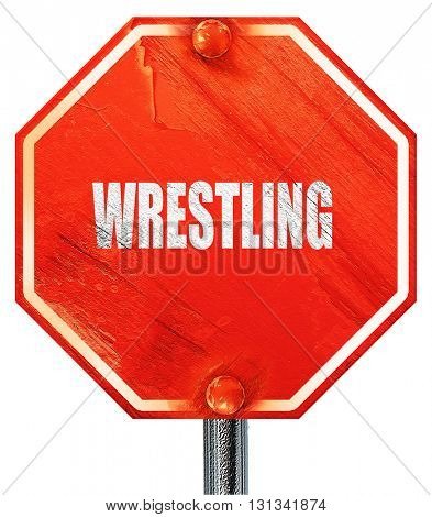 wrestling sign background, 3D rendering, a red stop sign