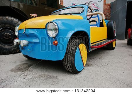 Podol, Ukraine - May 19, 2016: Handmade Blue And Yellow Bicolor Vintage Retro Classic Car Based On Z