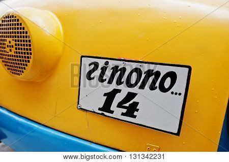 Podol, Ukraine - May 19, 2016: License Plate On Retro Car With Sign Zinono 14