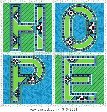Green And Blue Ornamental Block Typography HOPE Label