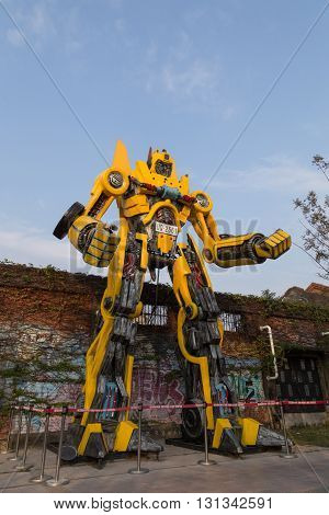 Kaohsiung, Taiwan - January 11, 2015: Big robot statue from the Transformers movies